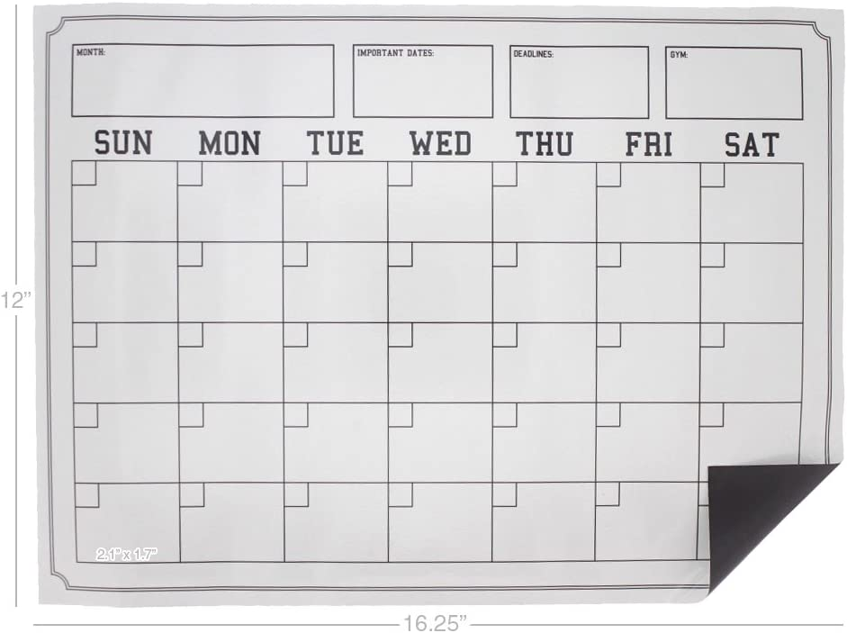 Juvale Magnetic Dry Erase Sheets Includes 1-Plain Sheet Kitchen Whiteboard and 1 Calendar White and Metal Surfaces 2-Pack Dry Erase Boards for Fridge Large