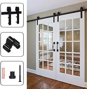 121CM/4FT Puerta de granero corredera estilo rústico puerta de granero corredera de madera para armario puerta granero herraje colgadocon guía rodamientos deslizantes, para puerta doble: Amazon.es: Bricolaje y herramientas