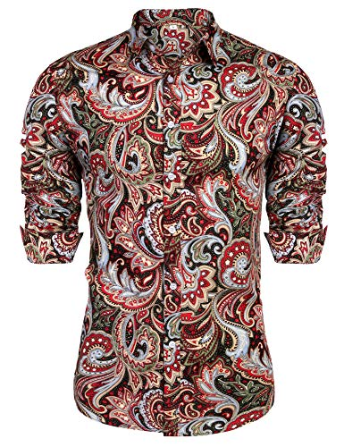 URRU Men's Floral Dress Shirt Long Sleeve Casual Paisley Printed Button Down Shirt Dark Red L]()