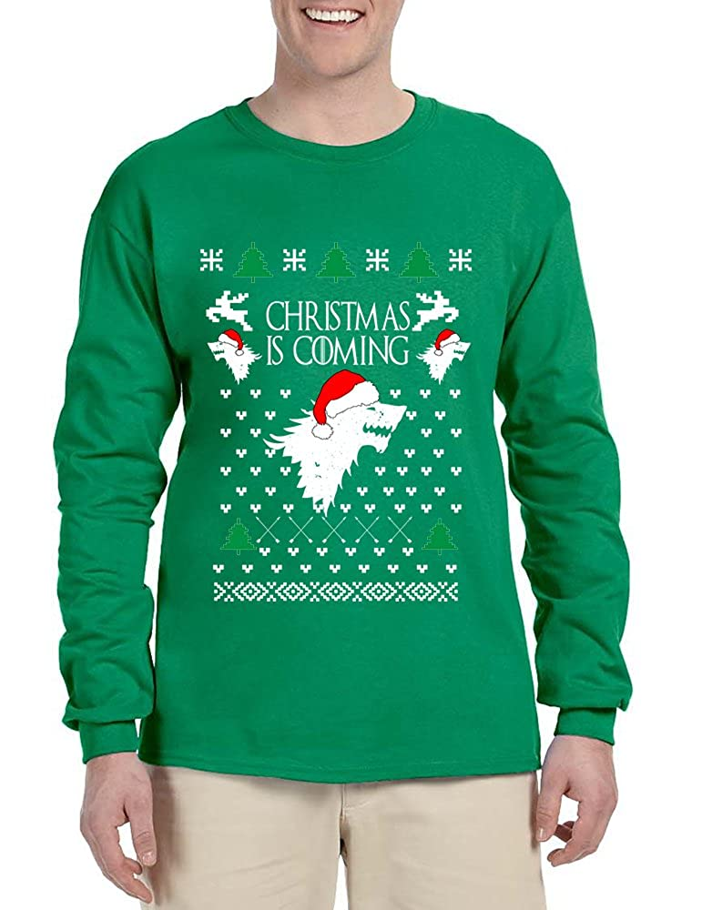 Allntrends Mens Long Sleeve Christmas Is Coming House Stark Ugly Xmas