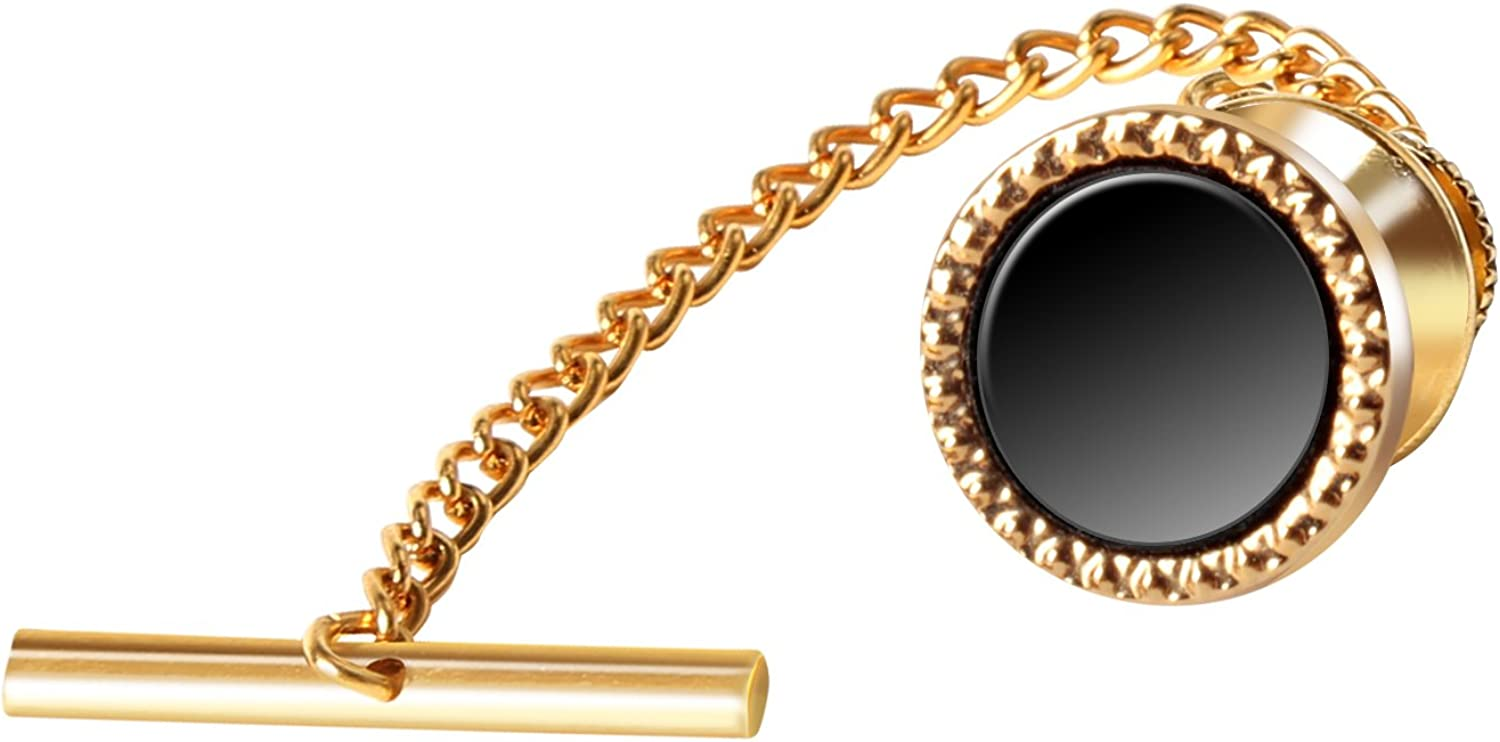 Digabi 10mm Black Tie Tack with Chains and Clutch Back Round Balck