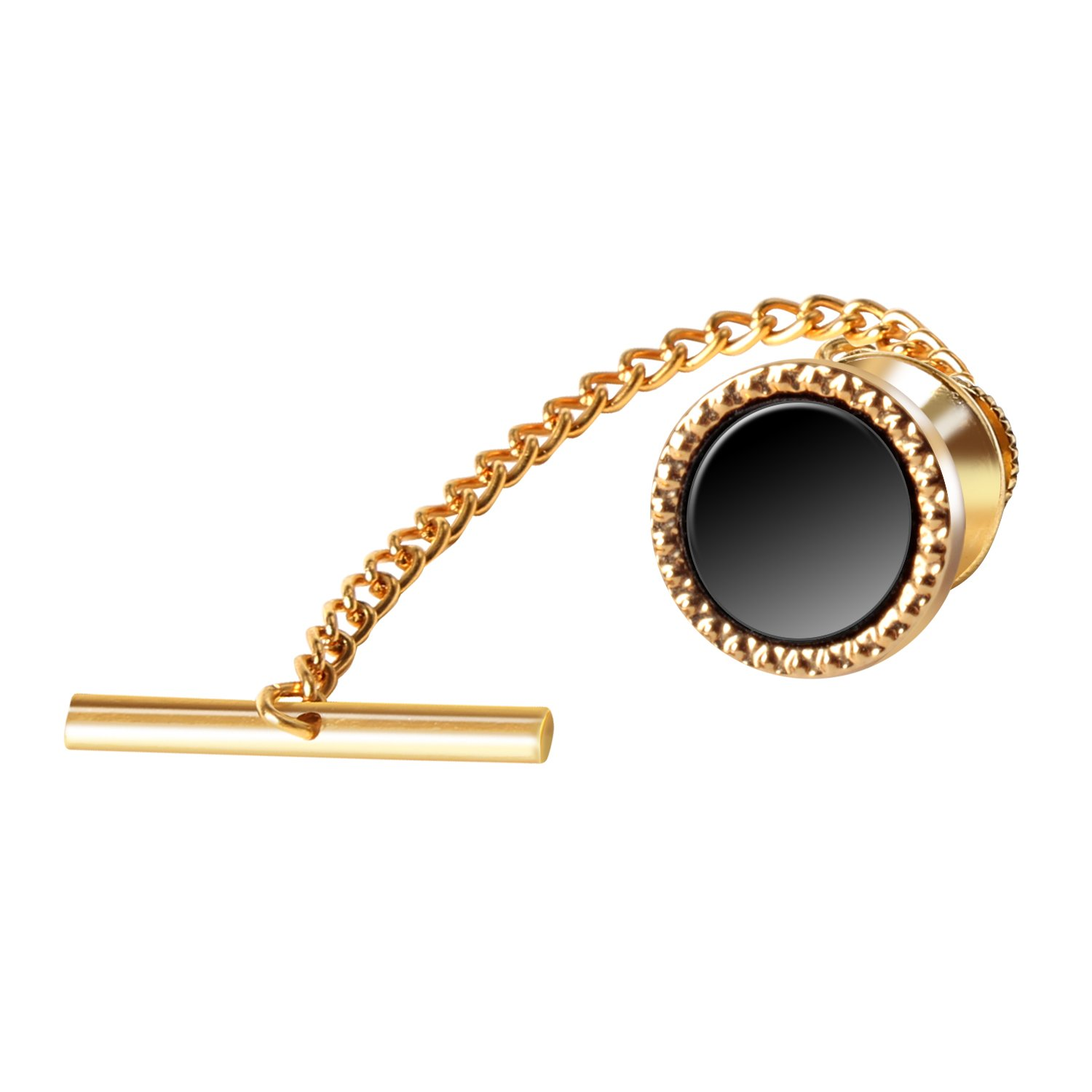 Digabi Men's Jewelry Round Black 10mm Tie Tack With Chains and Clutch Back Tie Clip Button Golden