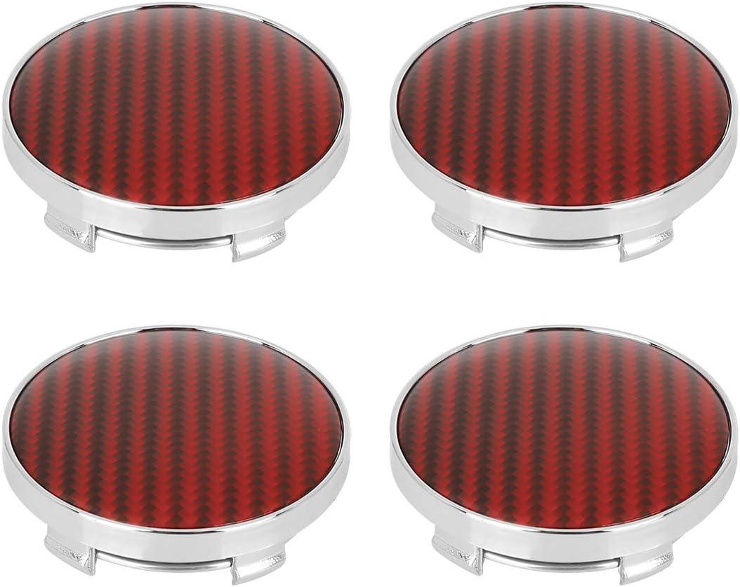 X AUTOHAUX 4pcs 60mm 5Lugs Car Rims Wheel Center Hub Caps Red Carbon Fiber Pattern