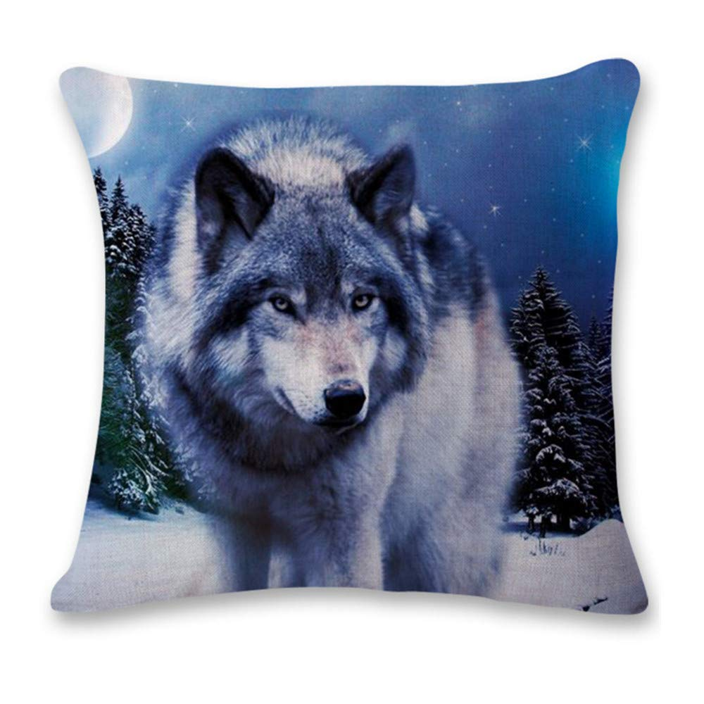 Pgojuni Cute Wolf Tower Flax Pillowcase Decoration Throw Pillow Cover Cushion Cover Pillow Case for Sofa/Couch 1pc (C)