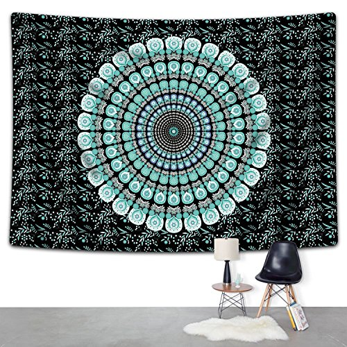 SENGE Tapestry Wall Hanging Green Tapestry Mandala Tapestry Hippie Tapestry Wall Hanging Bohemian Tapestry Indian Tapestry Indian Dorm Decor Tapestry Wall Art Wall Decor by SENGE