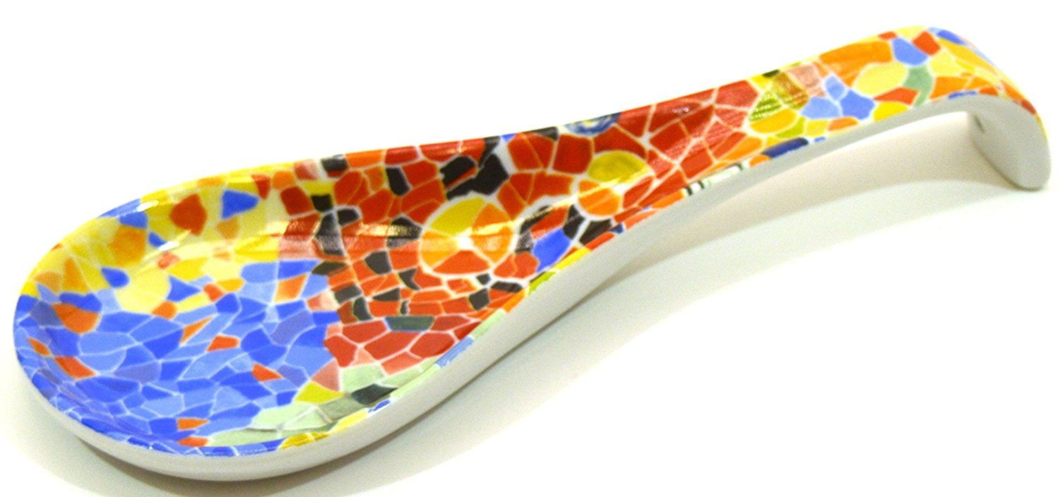 Amazon.com: Porcelain SMALL SPOON TRAY decorated in TRENCADIS Gaudí style. (Colour AURORA). 8.66 x 3.15: Kitchen & Dining