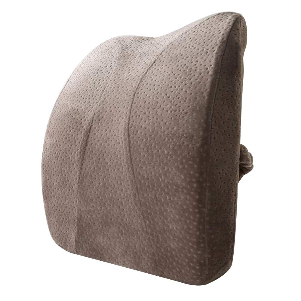 RUIRUIY Car Lumbar Pillow Cushions Support Back Cushion Breathable is Not Stuffy Strong Support Four Seasons Available Velvet Fabric,3 Colors (Color : Brown, Size : 42X35X8CM)