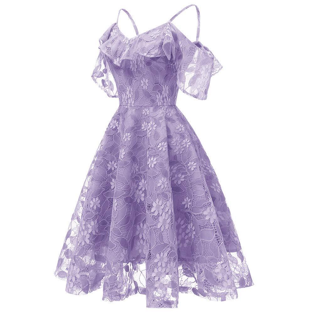 DEATU Princess Lace Dress Women Vintage Floral Cute Lace Cocktail Neckline Ladies Party Aline Swing Sleeveless Dress(Purple,S) by DEATU (Image #2)