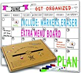 household chores calendar - Dry Erase Monthly Magnetic Calendar Planner Set, White Board W/extra Meal Planner, For Kitchen Refrigerator, Flexible, a Highly Designed Stiff Box for Home or Office. White, 16''x12''. By BIGGAHOME