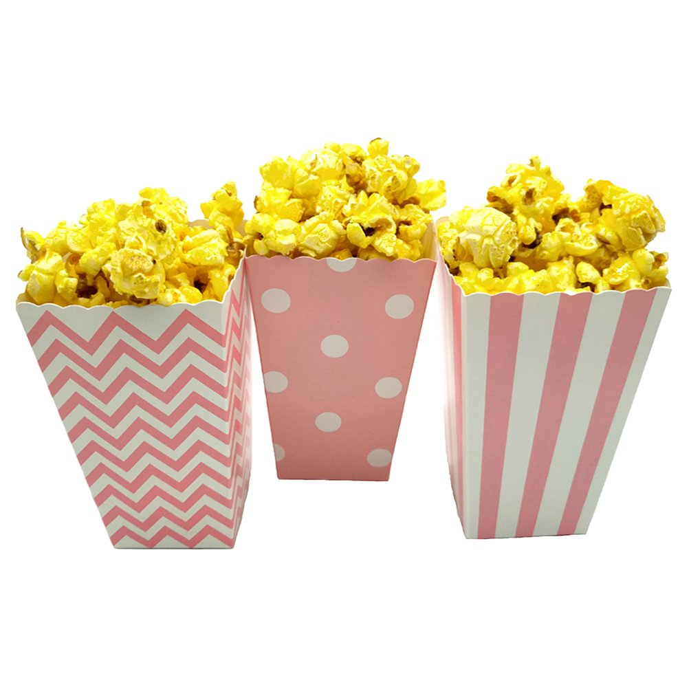 JCX Paper Popcorn Bags, Mini Movie Theater Party Paper Bags, 36 Pieces (Pink)
