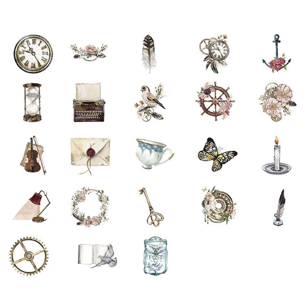 Aolvo Ephemera Pack 46 Pieces Vintage Seal Stickers Small Kawaii Stickers DIY Embellishment Decals Die-Cut for Journaling Scrapbooking Luggage Card Making Laptop Letters Photo Frame Bottles and More