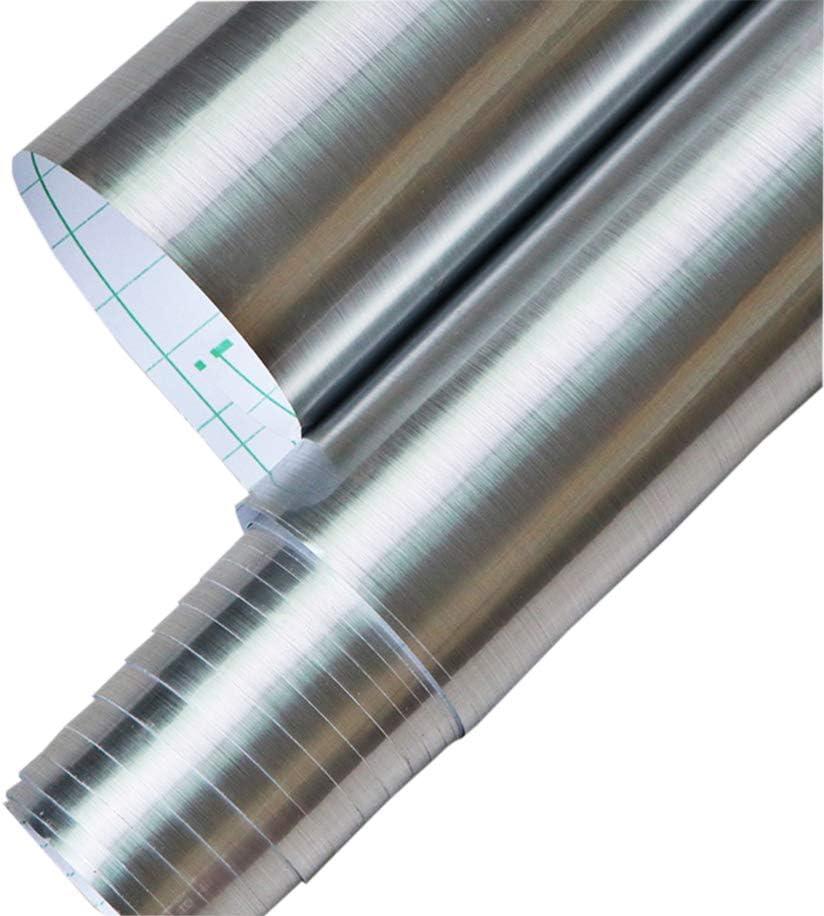 Papier de contact en vinyle argenté métallisé avec support en papier autoadhésif pour meubles de dosseret de cuisine 45x200cm