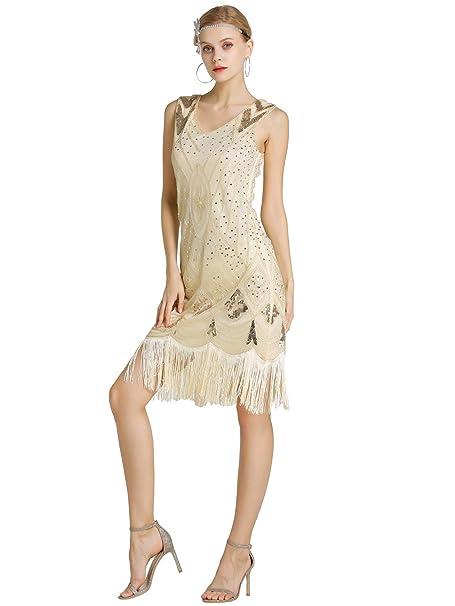 95aafbac46fc Kaiyei Donne 1920 s Grande Gatsby Vestito Sequins in Rilievo Vestito da  Ballo Latino per Le Donne Senza Maniche Mini Vestiti da Partito  Amazon.it   ...