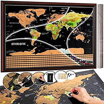 Amazon scratch off world map poster travel map by scratch off world map poster travel map by officreative 325 x 235 inches travel gumiabroncs Choice Image
