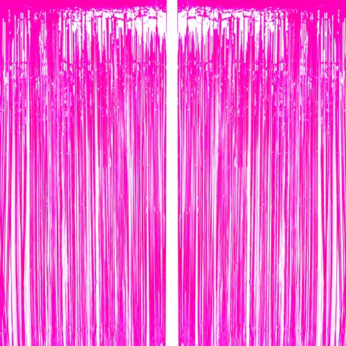 Hot Pink Tinsel Foil Fringe Curtain Bachelorette Wedding Bridal Shower Photo Backdrops Party Decor Baby Shower Girls First Birthday Photo Booth Props Backdrops Decorations -
