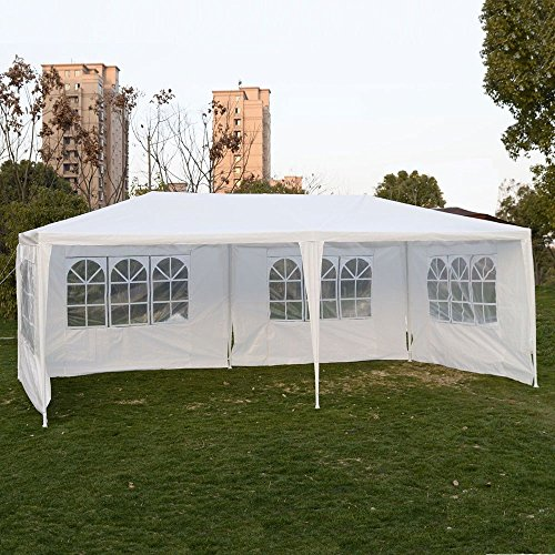 ALightUp 10 x 20-Feet, Folding Gazebo Camping Canopy Wedding Party Tent, White with 4 Sidewalls (Products Kirkham Outdoor)