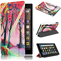 Fire HD 8 Case 7th generation 2017 Release, Swees Slim Folio Protective Leather Smart Case Cover with Stand for All New Amazon Fire HD 8 Tablet with alexa 7th gen 2017 Kids Friendly, Lucky Tree