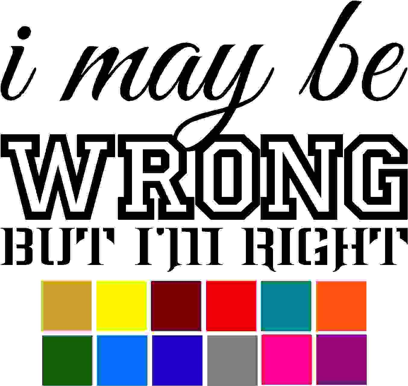 Funny I may be Wrong but Im Right Decal Sticker Vinyl Car Window Tumblers Wall Laptops Cellphones Phones Tablets Ipads Helmets Motorcycles Computer Towers V and T Gifts