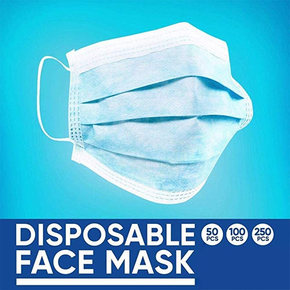 XRJ Máscara de Confort 50PCS de Tres Capas Desechables Máscara Fuerte Máscara de Filtro de protección del Ministerio del Interior Unisex Color al Azar (Color : Blue, Size :