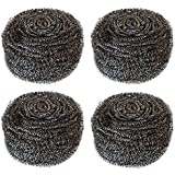 Hulless 4pcs Stainless Steel Sponges Scrubbers Extra Large Utensil Scrubber, Metal Scouring Pads, Stainless Steel Scourer Pot Brush, Kitchen Cooking Utensil Cleaning Tools, 60g/pcs.