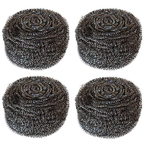 Hulless 4 Pcs Stainless Steel Sponges Scrubbers Extra Large Utensil Scrubber (2.1 oz each) Metal Scouring Pads Stainless Steel Sponges Scourer Pot Brush,Kitchen Cooking Utensil Cleaning Tools,60g/pcs.