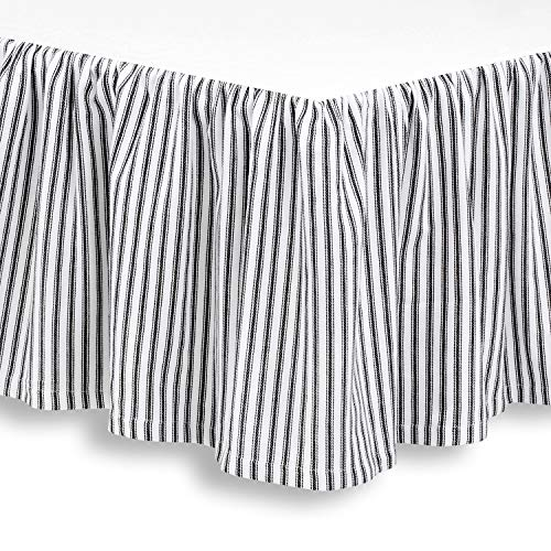 (Cackleberry Home Black and White Ticking Stripe Woven Cotton Bedskirt 16 Inch Drop, Queen (60 x 80 Inches))