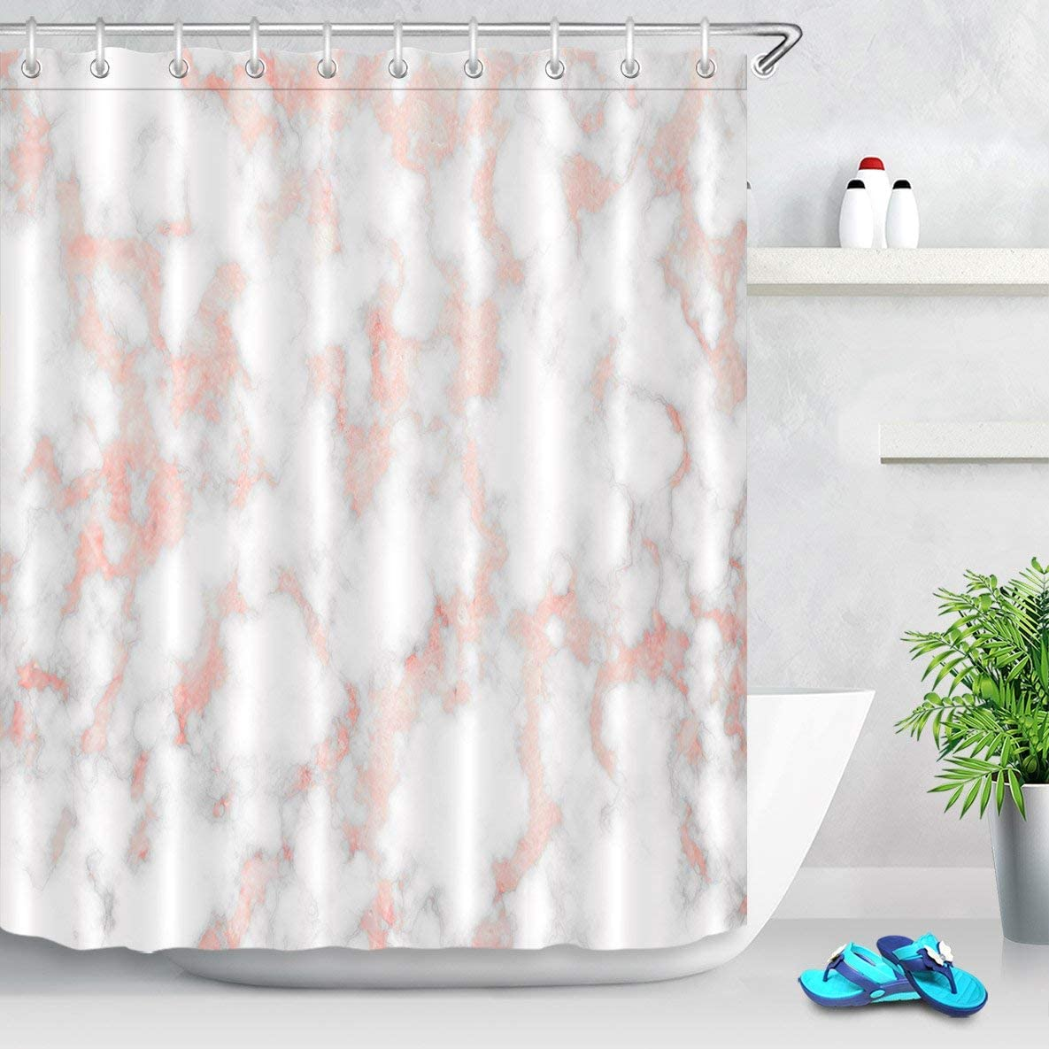 LB Rose Gold Marble Shower Curtain Set,Fashion Pink Metal Marble with Mineral Ink Texture Trendy Bathroom Curtain 72x72 Inch Polyester Fabric with 12 Hooks