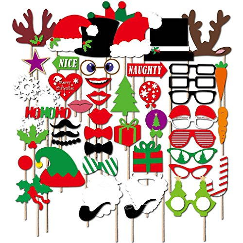 50PCS Colourful Photo Booth Props Fun Selfies - DIY Kit for Christmas Theme - Glasses Ties Mustaches Lips Hats Antlers Trees Snowflakes Pipe Gift Set (Antler Christmas Tree For Sale)