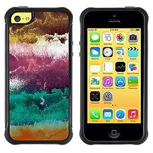 LASTONE PHONE CASE / Suave Silicona Caso Carcasa de Caucho Funda para Apple Iphone 5C / Plum Purple Abstract Clouds Art