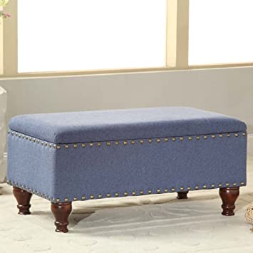 Kinfine Linen Storage Bench With Nailhead Trim And Hinged Lid, Blue