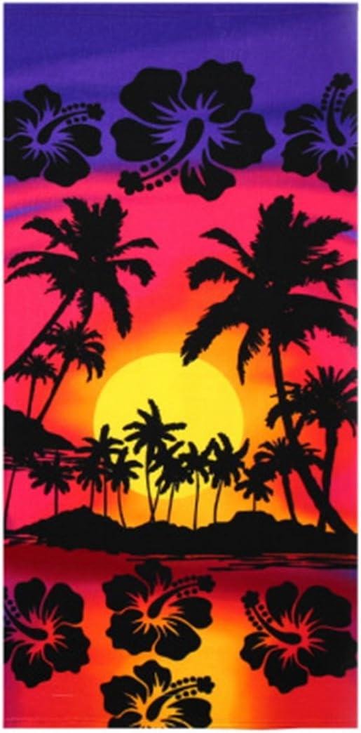 Sfit Badetuch Microfaser 70x150cm Stil 1 Handtuch Motiv Delphin Ozean Sonnenuntergang Strandtuch