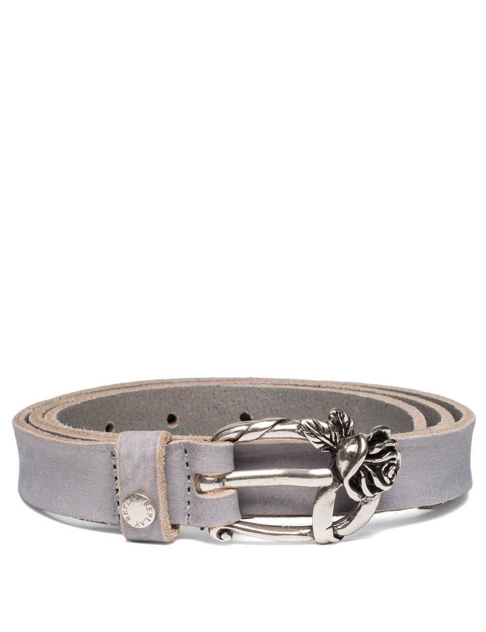 Replay Women's Women's Leather Grey Belt With Flower Buckle in Size 85 Grey