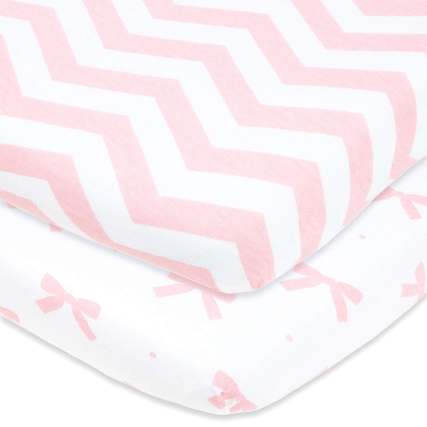 Bassinet Sheets Set 2 Pack for Baby Girls by Cuddly Cubs | Soft, Breathable Pure Jersey Cotton | Fitted Elastic Design | Pink Bow with Chevron | Compatible with Halo, Chicco Lullago, Bjorn, Ingenuity