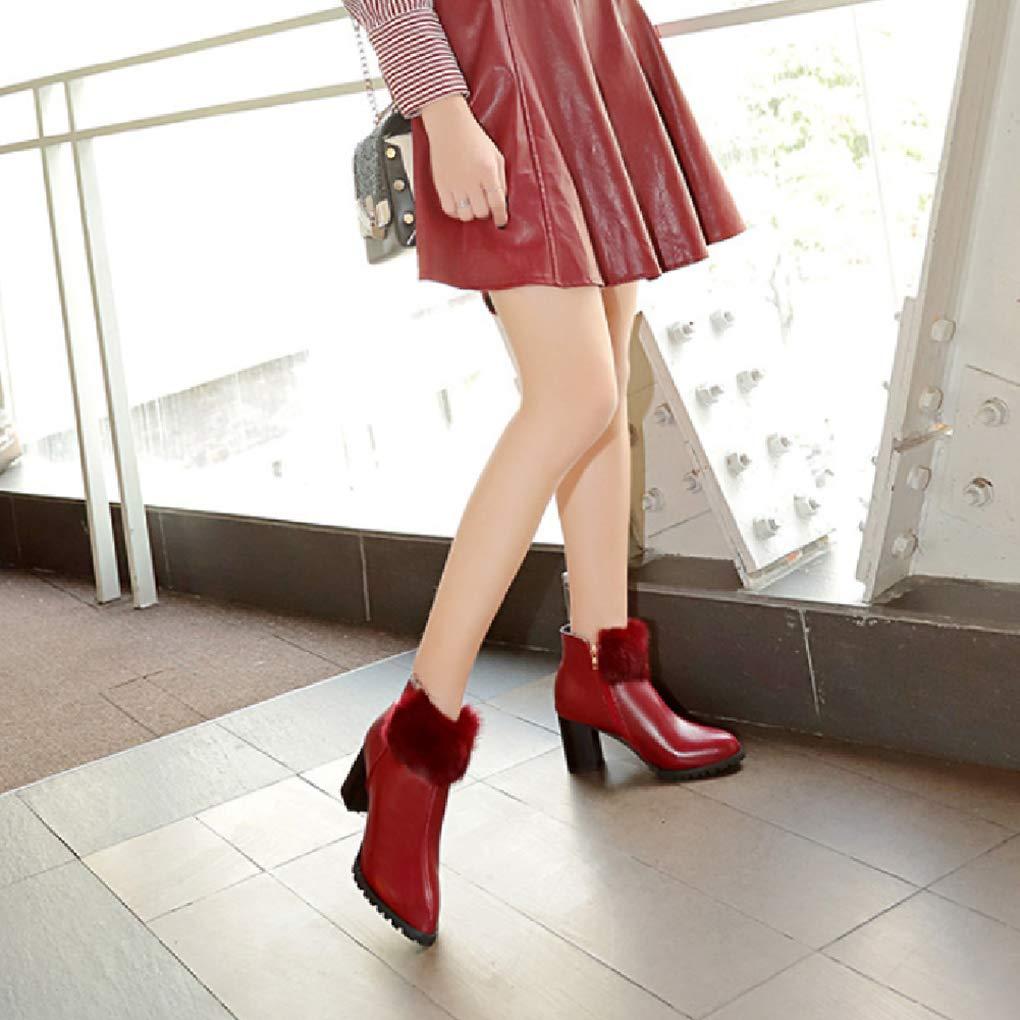 POLLYEDEN Damenmode Stiefeletten spitz Zehe Reißverschluss Seitlichem Reißverschluss Zehe Kurze Stiefel Blockieren Absatz Winter Stiefelies 34526e