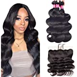 """9A Brazilian Body Wave Bundles With 13x4 Frontal 100% Unprocessed Hair Weave Human Hair Bundles Natural Color(10 12 14+10""""Frontal)"""