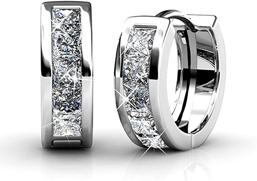 943cf2e40 Cate & Chloe Giselle 18k White Gold Plated brass Crystal Hoop Earrings with  Swarovski, Small