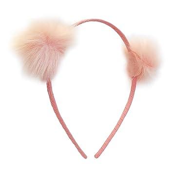 Amazon.com  Girl Headband (Pink Fuzz) Girls  furry pom-pom headband ... 531c8abc489