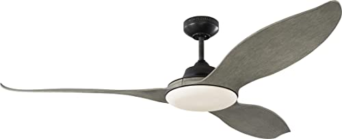 Monte Carlo 3STR60AGPD Stockton 60 Outdoor Ceiling Fan with LED Lights Remote, 3 Light Grey Weathered Oak Blades, Aged Pewter