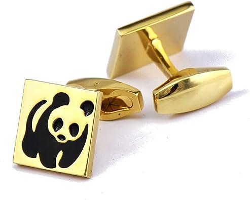 AnazoZ Gemelos Camisa para Hombre Cobre Gemelos para Camisa Hombre Panda Gemelos para Novio Oro: Amazon.es: Joyería