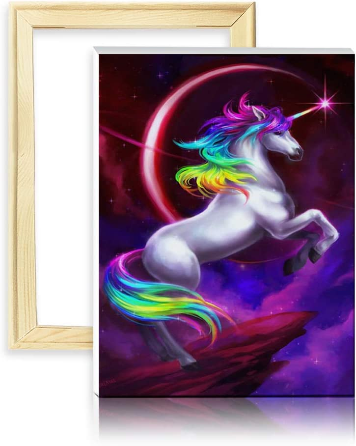 ufengke Wooden Frame Colorful Unicorn 5D Diamond Painting Kits by Numbers Full Drill Diamond Embroidery Cross Stitch Mosaic Making 25 35cm Design