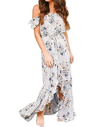 e9be0aecca599 Umeko Womens Off The Shoulder Floral Print Dresses Ruffle Split Long Maxi  Casual Chiffon Dress