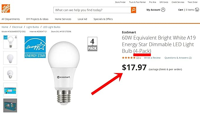 Ecosmart 60w Equivalent Bright White A19 Energy Star Dimmable Led