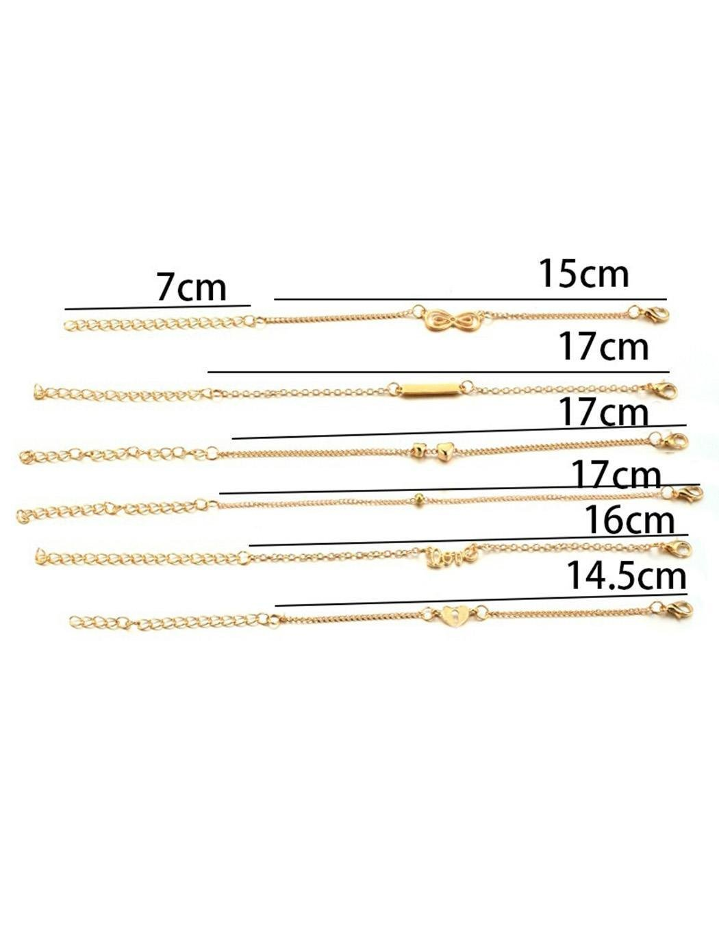 Jingjing1 Anklet Bracelets 6 Pcs Set Adjustable Fashion Heart Love Foot Chain