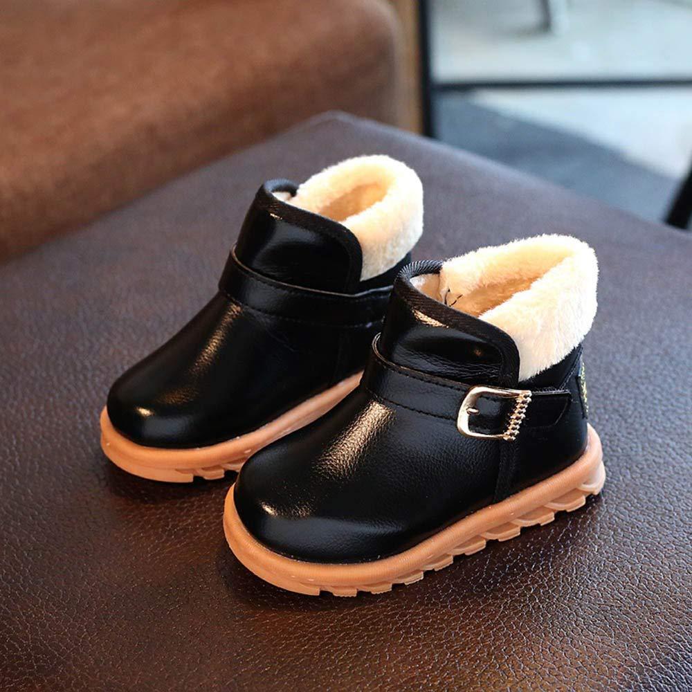 Toddler//Little Kid//Big Kid Fancyww Kids Girls Boys PU Waterproof Lace-Up Ankle Boots