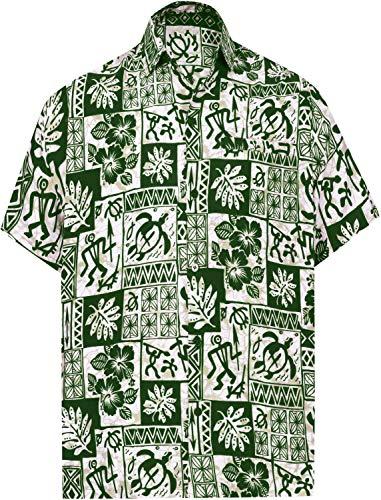 LA LEELA Shirt Casual Button Down Short Sleeve Beach Shirt Men Aloha Pocket 209