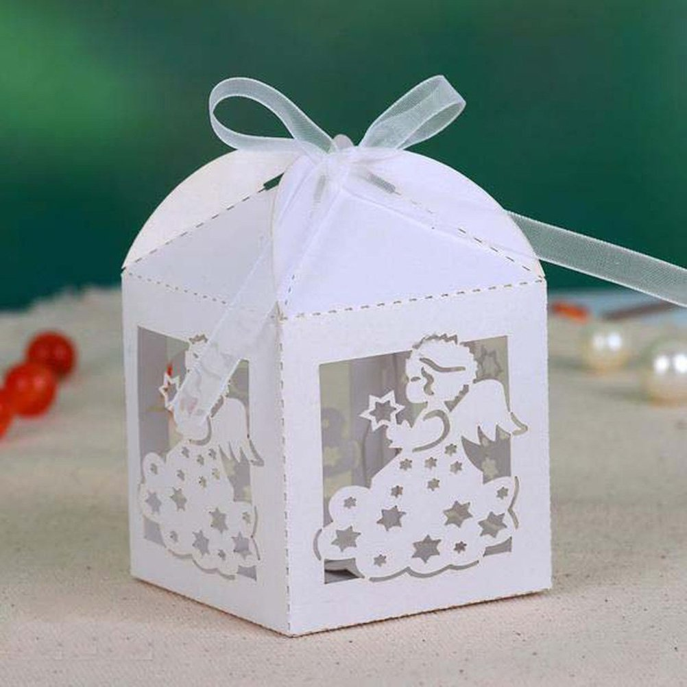 White Tinksky 50pcs Party Wedding Favors Ribbon Candy Boxes Anniversary Gifts Box Baby Shower Party Favors