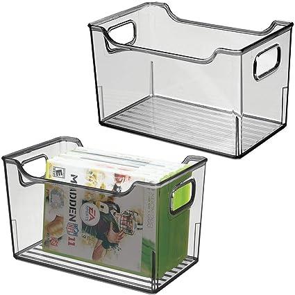 mDesign boite de rangement en plastique avec poign/ées int/égr/ées transparent et gris caisse de rangement transparente et /él/égante boite de rangement salle de bain pour cosm/étiques