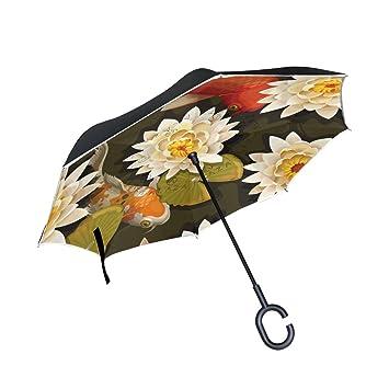 Peces Koi japoneses diseño doble capa paraguas impermeable retroceso automático abierto boca abajo coche paraguas plegable
