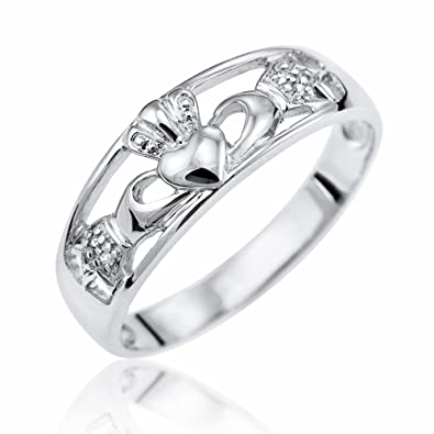 Kareco 9ct White Gold Diamond Set Celtic Claddagh Ring Amazonco