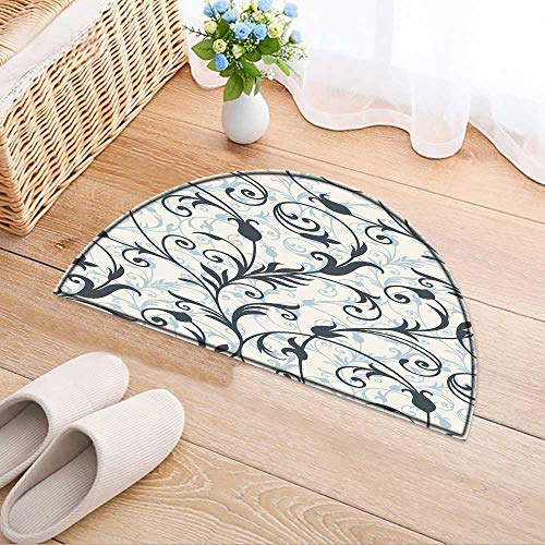 (Semicircle Area Rug Background from a Ornament Fashionable Wallpaper or Textile Living Dinning Room & Bedroom Rugs W33 x H22 INCH)